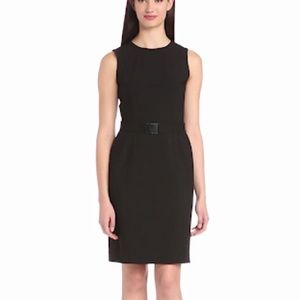 Calvin Klein Solid Black Suit Dress Knee Length 2